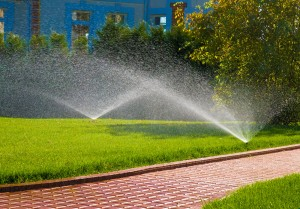 two sprinklers spraying water in both directions on green grass